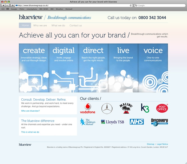 Light airy and blue website design.