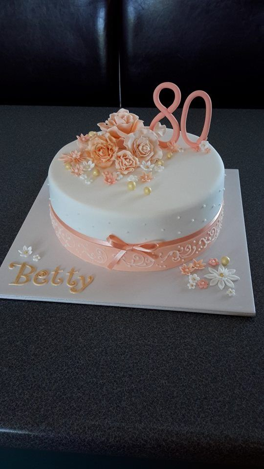 80th birthday cake in shades of apricot. Cake by Homemade By Hollie. (birthday cake decorating ideas)