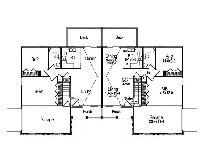 32 best images about duplex plans on pinterest for Ranch style duplex plans