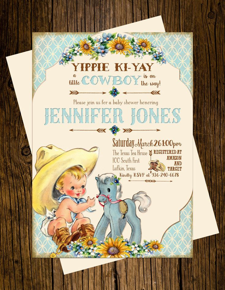 "12 Vintage Inspired ""Little Cowboy On The Way"" Baby Shower Invitations by SugarAndPaper on Etsy https://www.etsy.com/listing/258944088/12-vintage-inspired-little-cowboy-on-the"