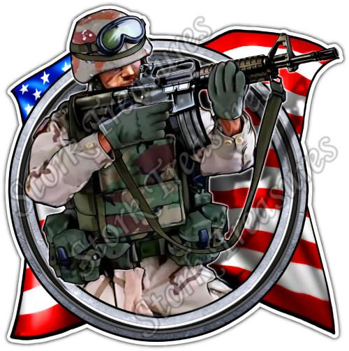 American Soldier Recon US Army Military Gun Car Bumper Vinyl Sticker Decal