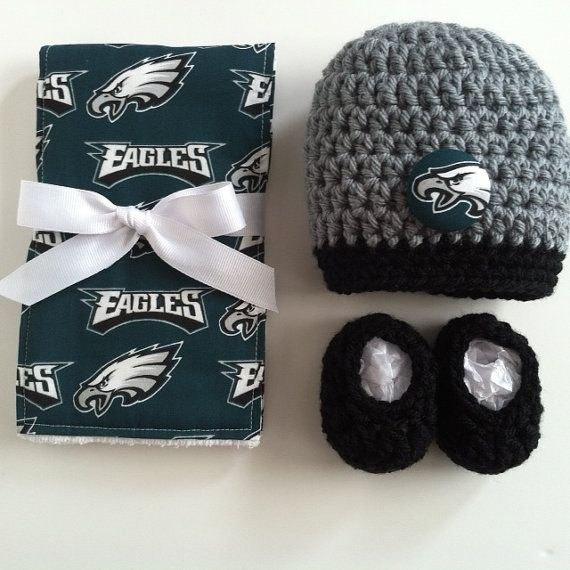 Philadelphia Eagles hat booties and burp by SweetSomethingsBaby, $30.00