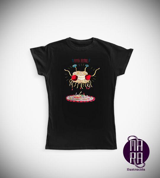 Camiseta Pastafari para mujer Colores disponibles: Blanco - Negro  Tallas disponibles: S - M - L - XL  http://camaloon.es/descubre/artistas/mara-ilustracion/creaciones/black-cat-white-cat/camisetas-personalizadas/camisetas-personalizadas-mujer/productos