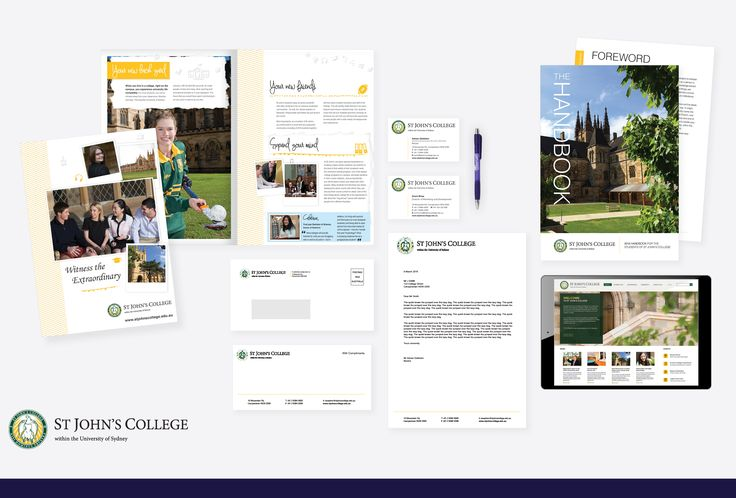 Print and digital collateral following the rebrand of St John's College, USYD.