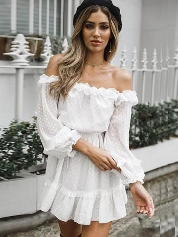 0340a5a610d8d6 Off The Shoulder Lace Up White Mini Dresses 1 review in 2019 ...