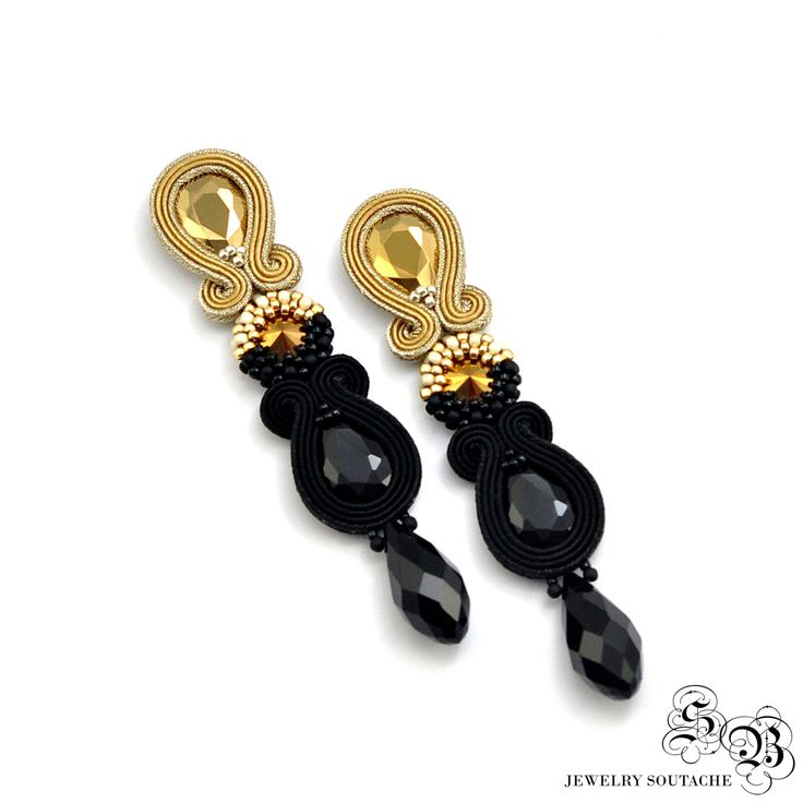 Long Dangle Drop Earrings, Black Gold Earrings, Clip on earrings, Soutache Earrings, Beading Earrings, Orecchini Soutache, Ohrringe soutache by SBjewelrySoutache on Etsy