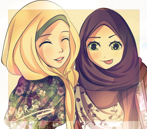 Happy Hijabis (Anime-Style Drawing) - Drawings | IslamicArtDB.com