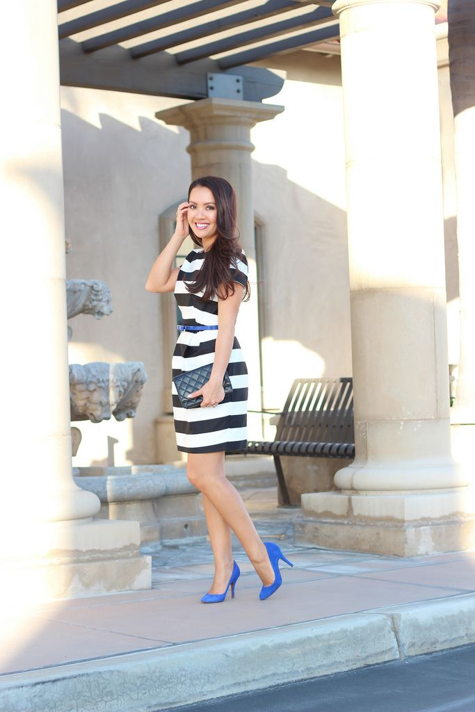 black and white striped dress bow belt pop of blue