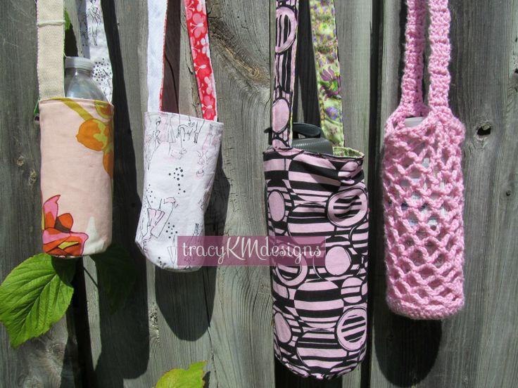 Reversible water bottle holders, using fabric leftovers and interior designer sample book fabrics.