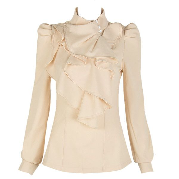 Choies Beige High Neck Blouse With Ruffle Front (€18) ❤ liked on Polyvore featuring tops, blouses, choies, shirts, beige, shirts & tops, pink shirt, shirts & blouses, high neck shirts and high neck blouse