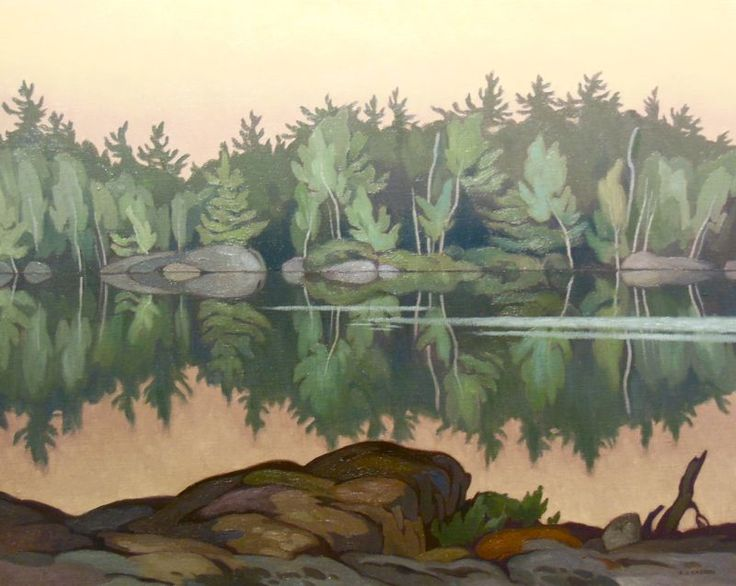 A.J. Casson - Afterglow Moose Lake (1967) 24 x 30 Oil on Panel