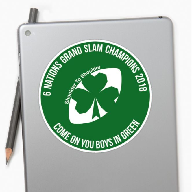 Ireland Grand Slam 2018 sticker by Fimbis     _________________________________    Ireland, Irish, Ulster, Connacht, Leinster, Munster, shamrock, Irish rugby, rugby world cup, 6 nations, coybig, coygig, wrwc, 6 nations grand slam champions 2018, Kieth Earls, Rory Best, Jacob Stockdale, Sean Cronin, Tadhg Furlong, Cian Healy, CJ Stander, Conor Murray, Jonathan Sexton, Garry Ringrose, Rob Kearney, stickers, sticker art,
