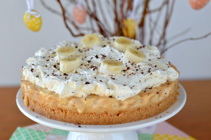 Southern Style Banoffee pie (banaan-karamel-taart) van mijn grote heldin Paula Deen. Een lekker banaan karamel taart die niet skinny is, maar wel erg lekker