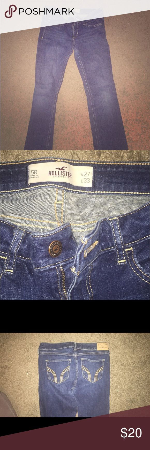 Hollister Jeans in prime condition! Great Item! Excellent condition hollister Jeans. Look brand new. Size 5R. 33Lx27W. Medium/dark wash no holes. Hollister Jeans Boot Cut