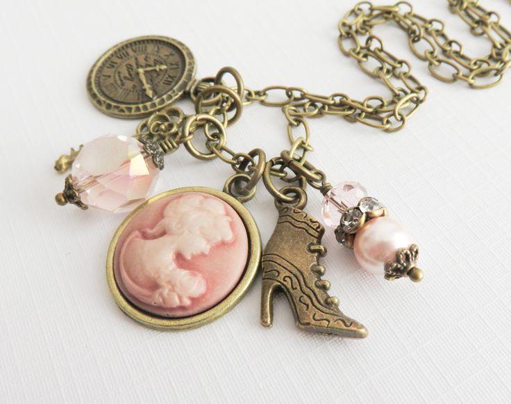 Roze camee bedel ketting, vintage stijl sieraden