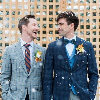 This snowy day calls for a sneak peek at a shoot we were a part of recently - these guys look great! #EWGroom   Team:  Photographer: @sarahbeauphoto Videographer: @obrienoriginals Planning, Design & Styling: @poseylaneweddingsyyc Florals: @creativeedgeflowersyyc  Stationery: @debbiewongdesign Hair: @edina.antoinette   Makeup: @kristdawn Cake: @handmadecakecompany Venue: @creeksidevillacanmore Mens Attire: @ewmenswear Candles: @chairflair Models: Christian & Rowan    #Regram via @ewmenswear