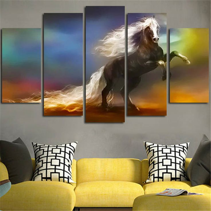 5Piece Wall Art Canvas Picture Horse Running Posters Print Wall Painting Hanging Quadros Christams Pictures Home Decor Frameless #Affiliate