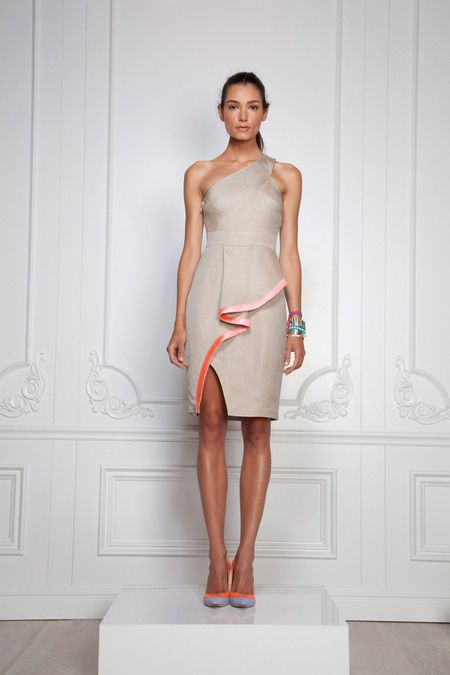Sophisticated pleated peplum slit skirt one shouldered dress. Neutral beige with pops of icy coral. So many trends in one minimalist piece! Rachel Roy, Spring 2013
