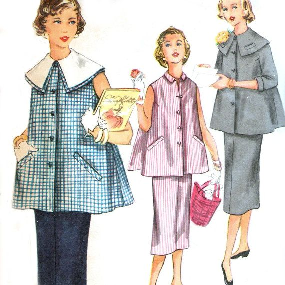 1954 Simplicity 1026 sewing pattern // Two Piece Maternity Suit-Dress, $12.00