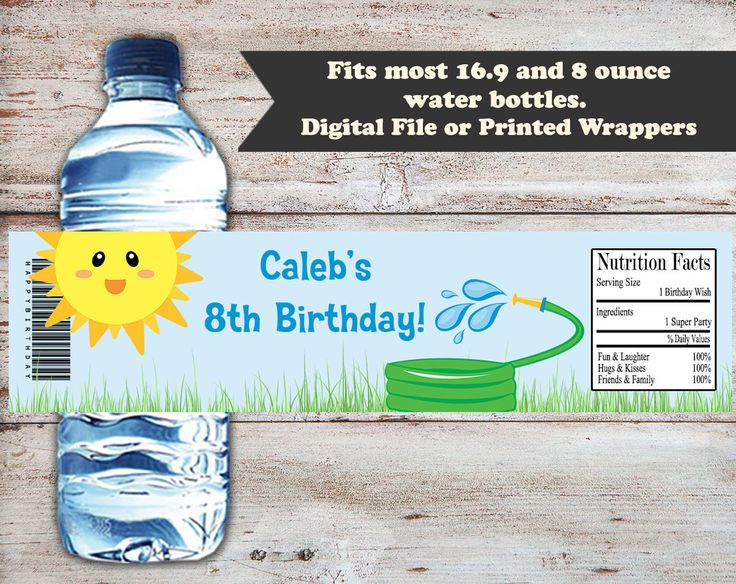 Summer Fun Water Bottle Labels, Swimming Party Water Wrappers, Swimming Party Favors, Outdoor Birthday Party, Summer Party Water Labels by PartiesR4Fun on Etsy