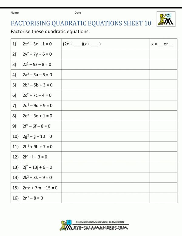 12 An Equation For Success Math Worksheet Answers Math With