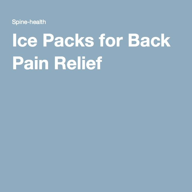 Ice Packs for Back Pain Relief