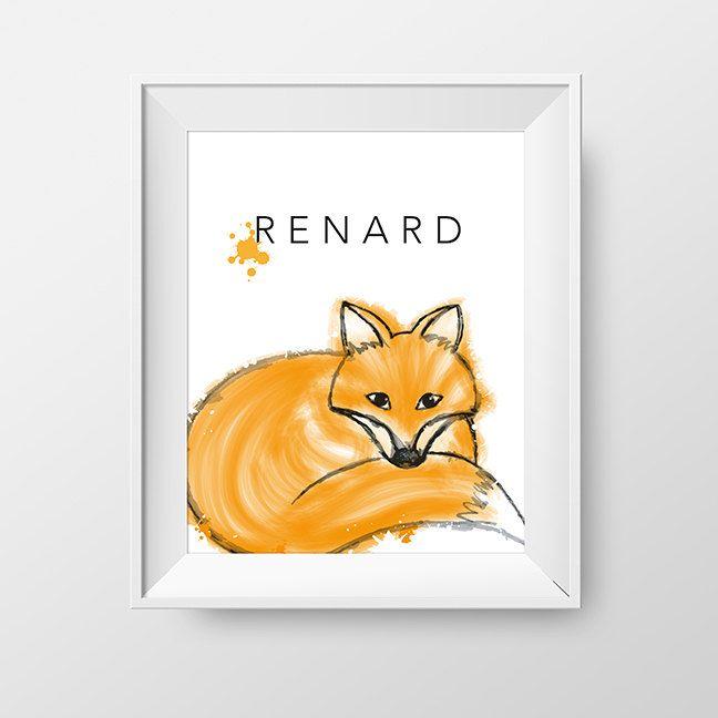 Affiche 8X10 renard - Affiche chambre enfant thème renard - Décoration chambre bambin - fichier numérique téléchargeable à imprimer de la boutique Akwadesign sur Etsy