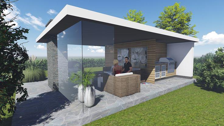 Impressie moderne veranda met buitenkeuken en berging. Uitgevoerd in strak wit met houten accenten. Door Signatuur Rijssen ( www.signatuurrijssen.nl )