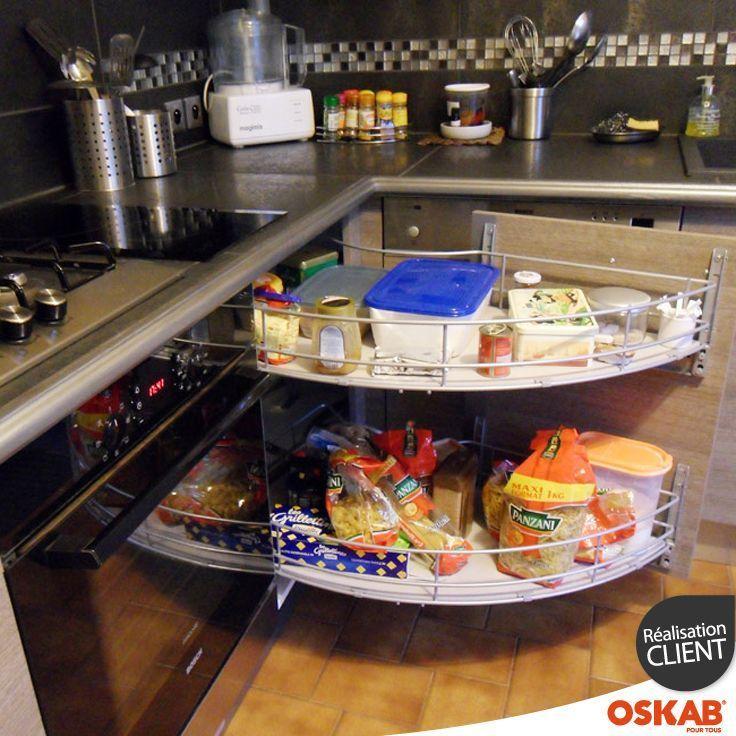 Accessoire Meuble Cuisine Meuble Angle Bas Double Rangement Demi Lune Coulissant Gris Deux Plateaux Plein Sort Small Kitchen Storage Kitchen Storage Kitchen