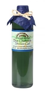 SHOWER GEL BLUE CHAMOMILE  Jojoba oil, green tea & aloe vera INFO: Our vegetable based deep cleansing shower gels are made with fresh plant infusions of aloe vera & cucumber, pure essential oils, and moisture rich glycerin. Your skin will feel soft and smooth. Ingredients: lavender hydrosol, aloe vera, green tea extract, sodium cocoyl glutamate, disodium cocoamphodiacetate, cocamidopropyl betaine, jojoba oil, cucumber extract, sea kelp extract, glycerin, citric acid, grapefruit seed extract.
