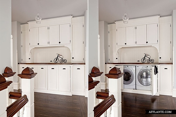 hidden washer and dryer. Also for a narrow laundry room, consider washer and dryer on opposite walls instead of side by side.