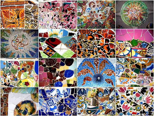 tile patterns from the park gell bench barcelona catalonia designed by gaudi - Mosaic Tile Design Ideas