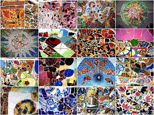 Tile patterns from the Park Güell Bench, Barcelona, Catalonia. Designed by Gaudi . Photo courtesy Make Mine Mosaic.
