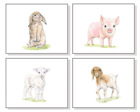 Baby Farm Animal Nursery Set stampa di animale da cortile degli animali da cortile 4 bambini camera Art Childs camera Farm Decor fienile maiale porcellino capra Bunny agnello