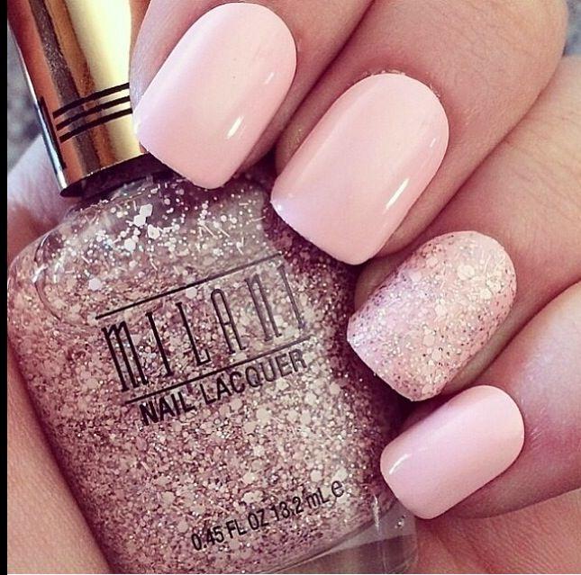 Baby pink nails coated with a layer of milani nail varnish (pink glitter nail polish) xx