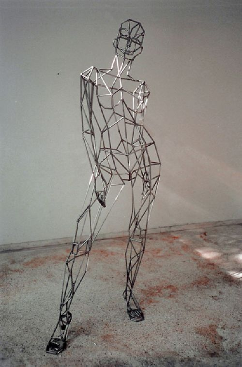 Figurative Abstract #sculpture by #sculptor Toby Short titled: 'virtual woman (caryatid)' #art