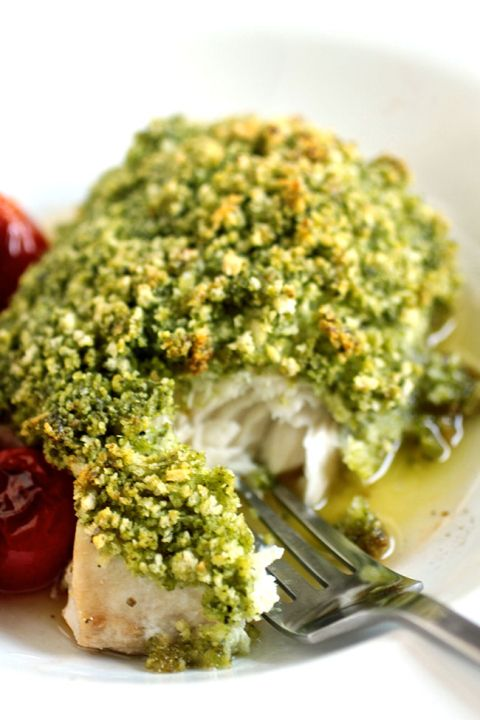 Pesto Crusted Mahi Mahi with Blistered Tomatoes and Lemon Butter Sauce