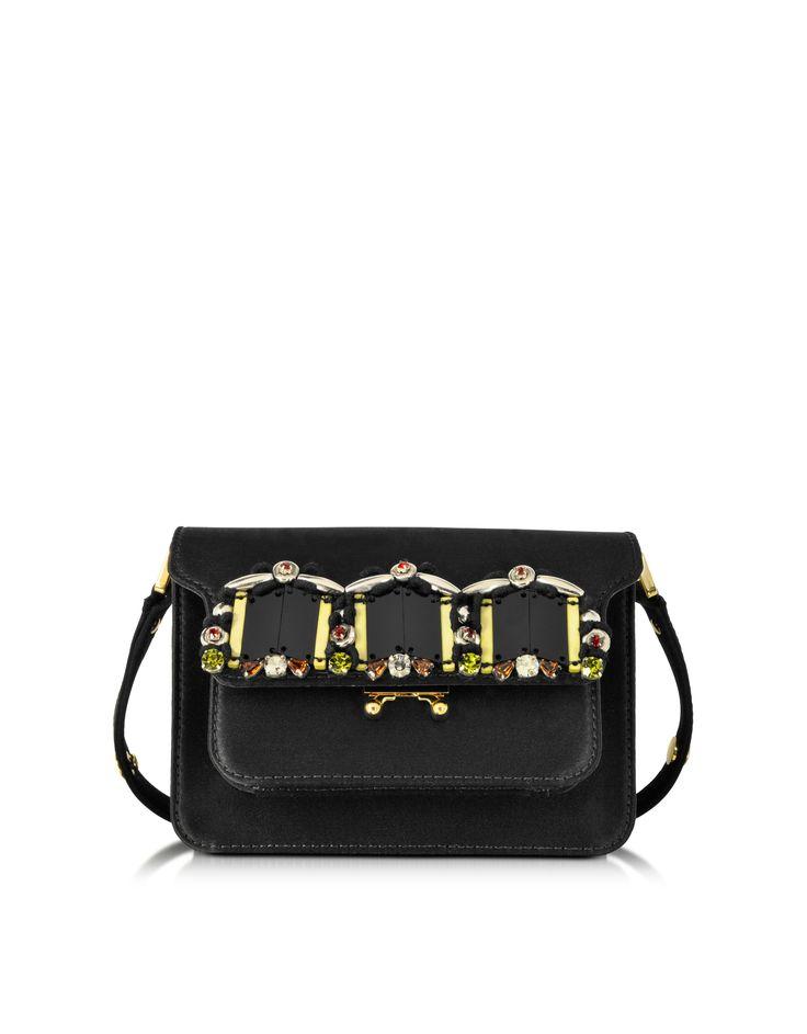Marni Carbon Satin Mini Trunk Bag w/Beads at FORZIERI