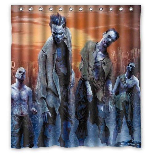 Шторы пластиковые занавески The Walking Dead Ужасный Зомби печати водонепроницаемый шторы для ванной комнаты 66 x 72 60 x 72