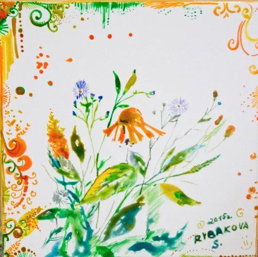 Оранжевый цветок Сначала был зеленый росток, а теперь оранжевый цветок! Детская тематика Керамическая плитка для кухни и ванной комнаты 20X20  Краска по керамике рисуем на плитке, акварельные рисунки  #керамическаяплитка #рисование #сюжет #ваннаякомната #кухня #изо #рисуемнаплитке #рисованиенаплитке #рисованиенакерамике #плитканакухню #плитканазаказ #плиткавванную #мастеркласспорисованию #сказкидлядетей #узоры #цветы #краскапокерамике