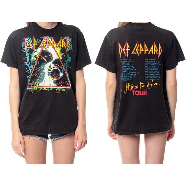 DEF LEPPARD Shirt 80s TShirt Hysteria Tour Band T Shirt Black Faded... ❤ liked on Polyvore featuring tops, t-shirts, vintage 80s t shirt, heavy metal shirts, vintage tee-shirt, heavy t shirts and leopard t shirt