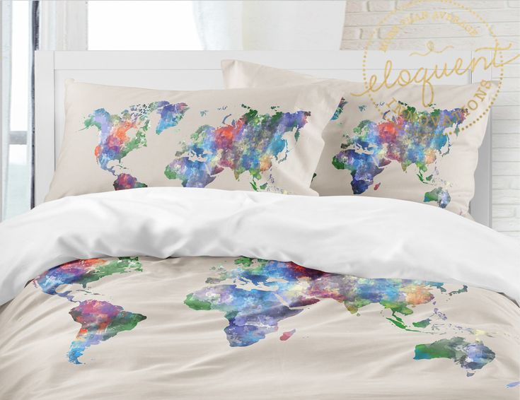 901 best custom bedding home decor images on pinterest custom world map bedding water color map bedding background can change to any color gumiabroncs Choice Image