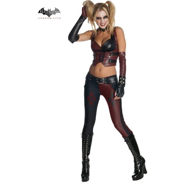 Batman Arkham City Harley Quinn Womens Costume ($80) ❤ liked on Polyvore featuring costumes, halloween costumes, multicolor, ladies halloween costumes, harley quinn halloween costume, sexy ladies costumes, womens costumes and white halloween costumes