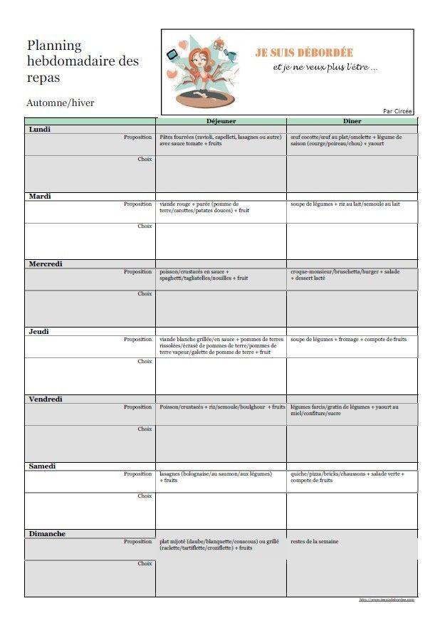 Organiser des menus types par semaine - Blog Je suis Débordée et je ne veux plus l'être