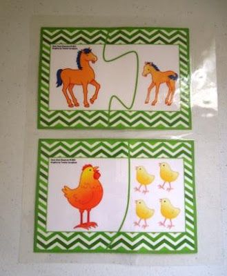 Free!  Printable two piece puzzles.  Match the adult farm animal with the baby.  This blog post provides step by step directions for assembling the puzzles to achieve the best results.