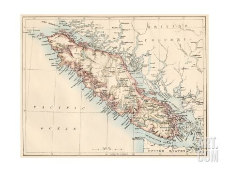 Map of Vancouver Island, British Columbia, Canada, 1870s Giclee Print at Art.com