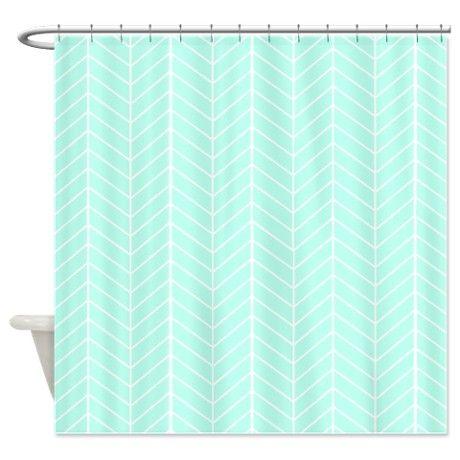 Mint green Herringbone Shower Curtain on CafePress.com
