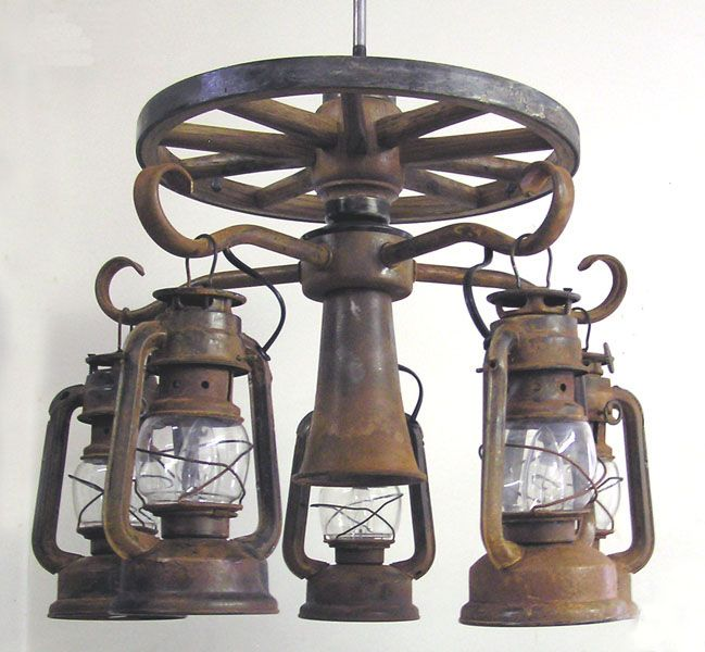 Wooden Wagon Wheel Ceiling Fan Light Kit With 5 Lanterns