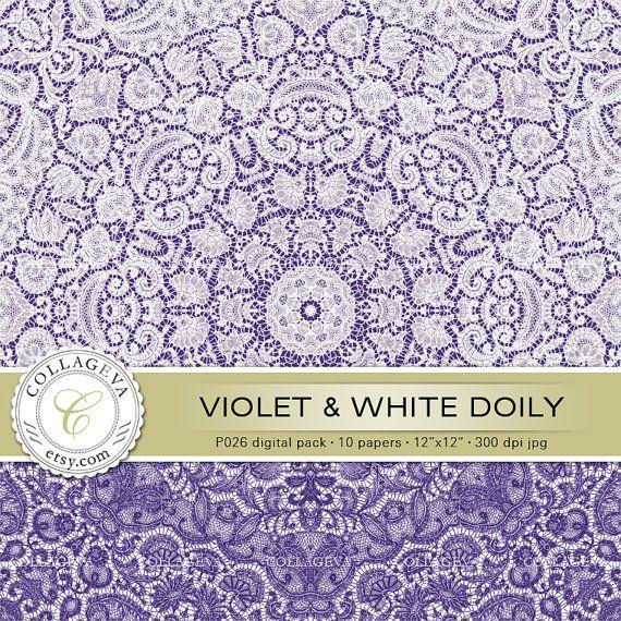 "Violet & White Doily (P026) Digital Paper Pack, 10 printable images, 12""x12"", Point-lace, Crochet, Doily, Wall art, Lilac Plum Lavender Blue by collageva"