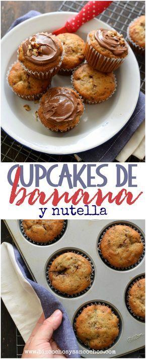 Cómo hacer cupcakes o muffins de banana con nutella. Receta de aprovechamiento esta vez con bananas, transformadas en unos sencillos, húmedos y ricos muffins o cupcakes glaseados con nutella.